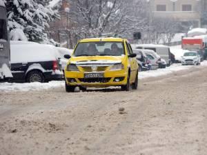 Drumuri înzăpezite în municipiul Suceava