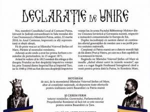 Declaraţie de unire a Basarabiei cu Ţara, semnată joi, la Mănăstirea Putna