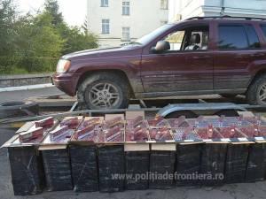 Autoturismul Jeep plin cu ţigări a fost reţinut în curtea Poliţiei de Frontieră