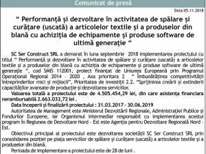 """"""" Performanţă şi dezvoltare în activitatea de spălare şi curăţare (uscată) a articolelor textile şi a produselor din blană cu achiziţia de echipamente şi produse software de ultimă generaţie """""""