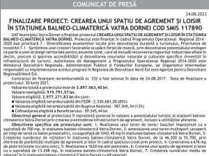 FINALIZARE PROIECT: CREAREA UNUI SPAȚIU DE AGREMENT ȘI LOISIR ÎN STAȚIUNEA BALNEO-CLIMATERICĂ VATRA DORNEI COD SMIS 117890